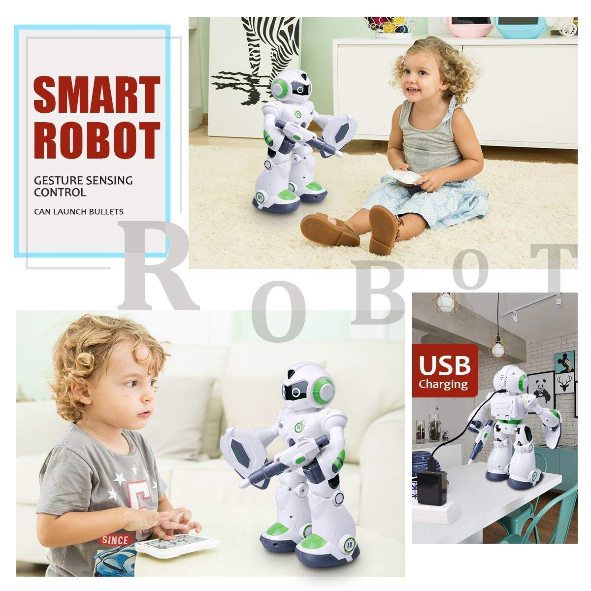 Remote Control Robot,Robot Toys,Smart Robotics for Kids with Gesture Sense, Interactive Walking Singing Dancing Speaking,with LED Light, Shoots Missiles, Talking, Walking, Singing, Educational Toys by Locke Teddy (Image #2)