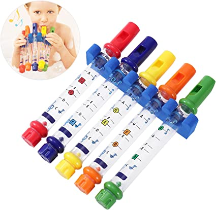TOYMYTOY 5pcs Bath Water Flutes Toy Colorful Water Whistling Bath Tub Tunes Music Toy