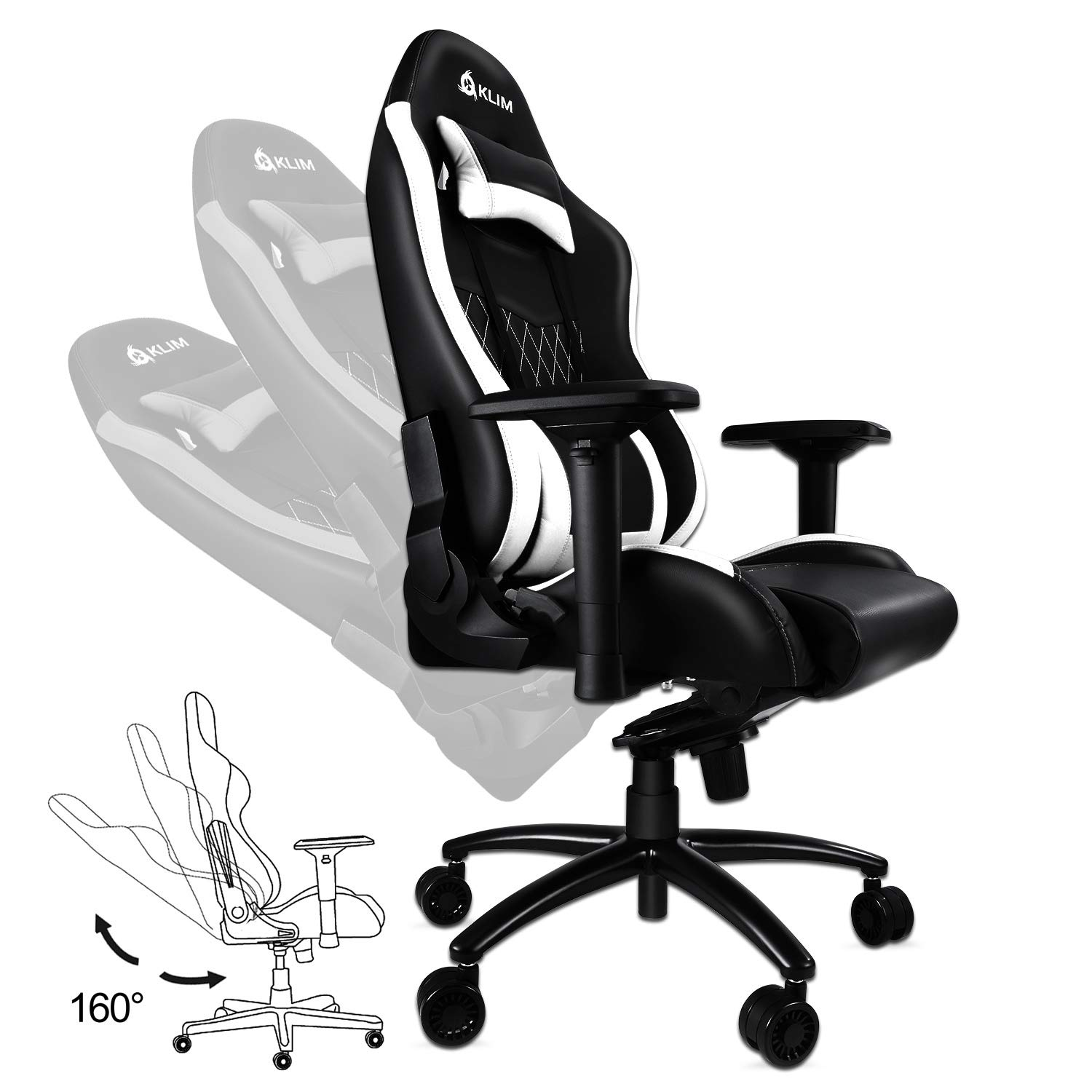 ... Gaming Chair Executive Ergonomic Racing Computer Chair - Back & Head Support - New - Adjustable Armrest - Desk & Office Recliner - Silla Gamer - Black ...