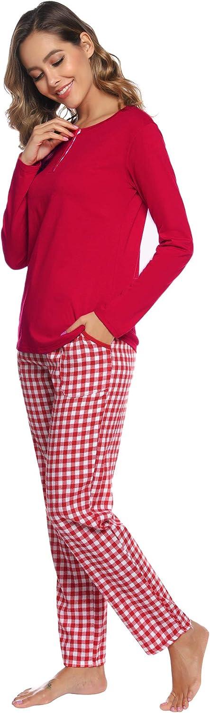 Set da Pigiama Donna Lungo Camicia da Notte per Donna Pigiami Due Pezzi da Donna Aibrou Pigiama Donna Manica Lunga