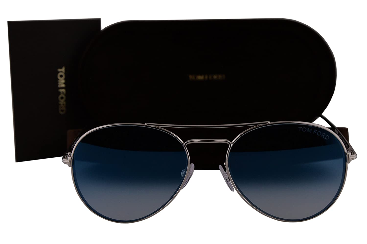 d141f9a7b784 Amazon.com  Tom Ford FT0551 Ace-02 Sunglasses Rhodium Shiny Silver w Blue  Gradient Mirror Lens 18X TF551  Clothing