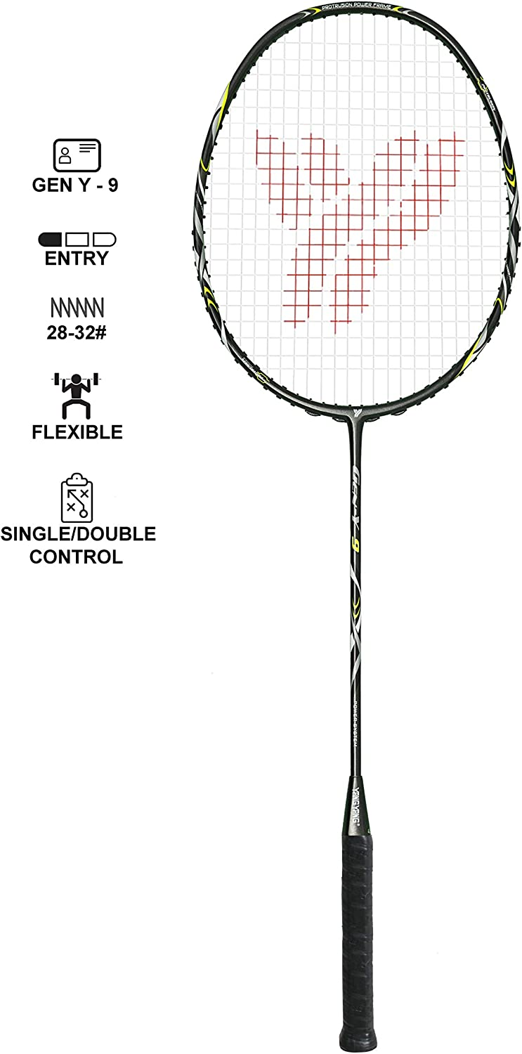 YANG-YANG Professional Series Lightweight High Modulus Graphite Badminton Racket Vital Material for Strength Shock Absorption reducing Muscle Injury w Carrying Bag