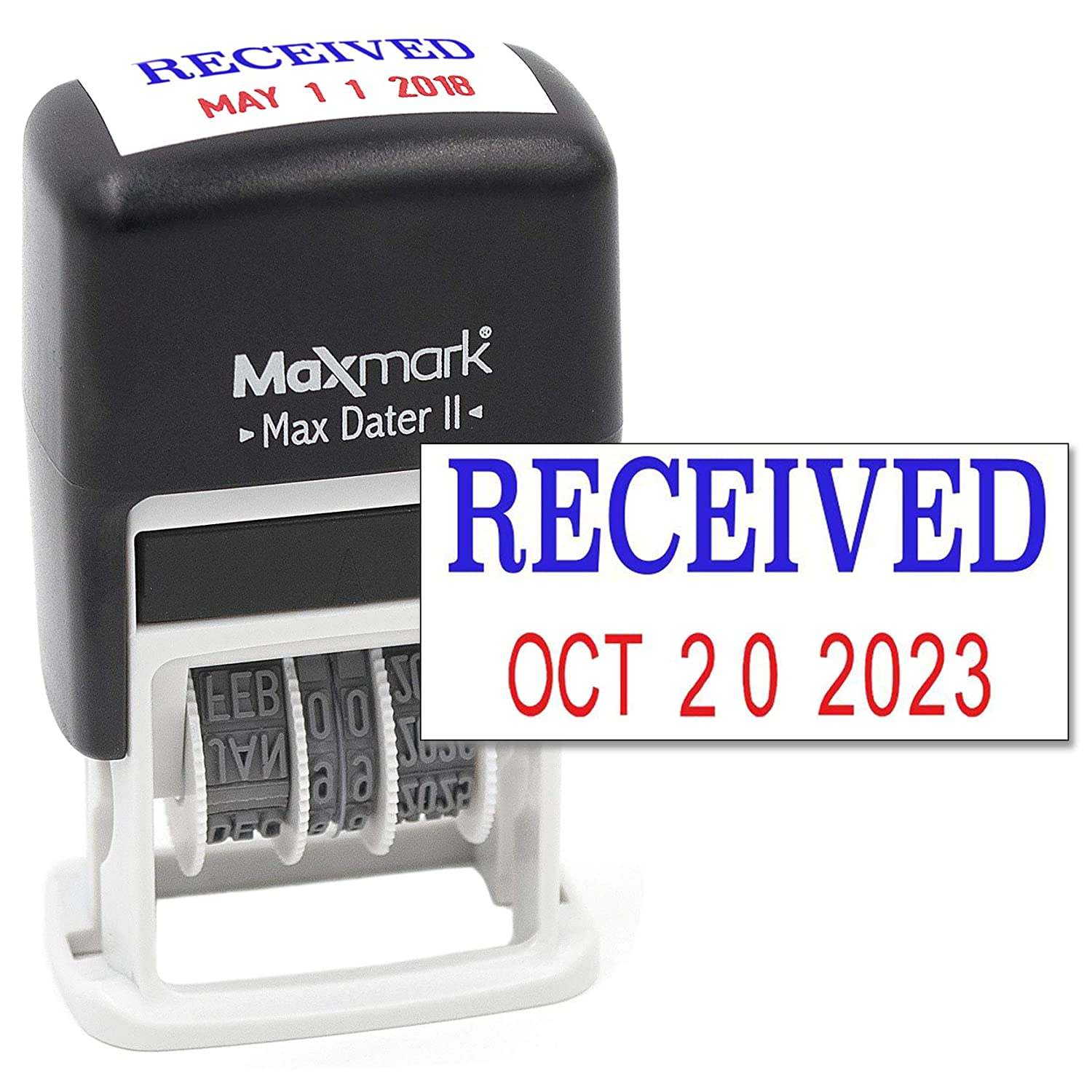 MaxMark Self-Inking Rubber Date Office Stamp with Posted Phrase Blue Ink & Date RED Ink (Max Dater II), 12-Year Band OP-31280