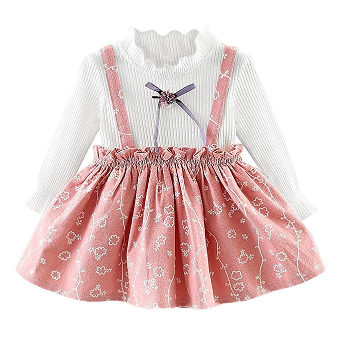 cc6a7ac8d66 Amazon.com  Baby Girls Cute Floral Dresses Newborn Infant Flower Clothes  for 0-24 Months Long Sleeve Party Princess Dresses  Clothing