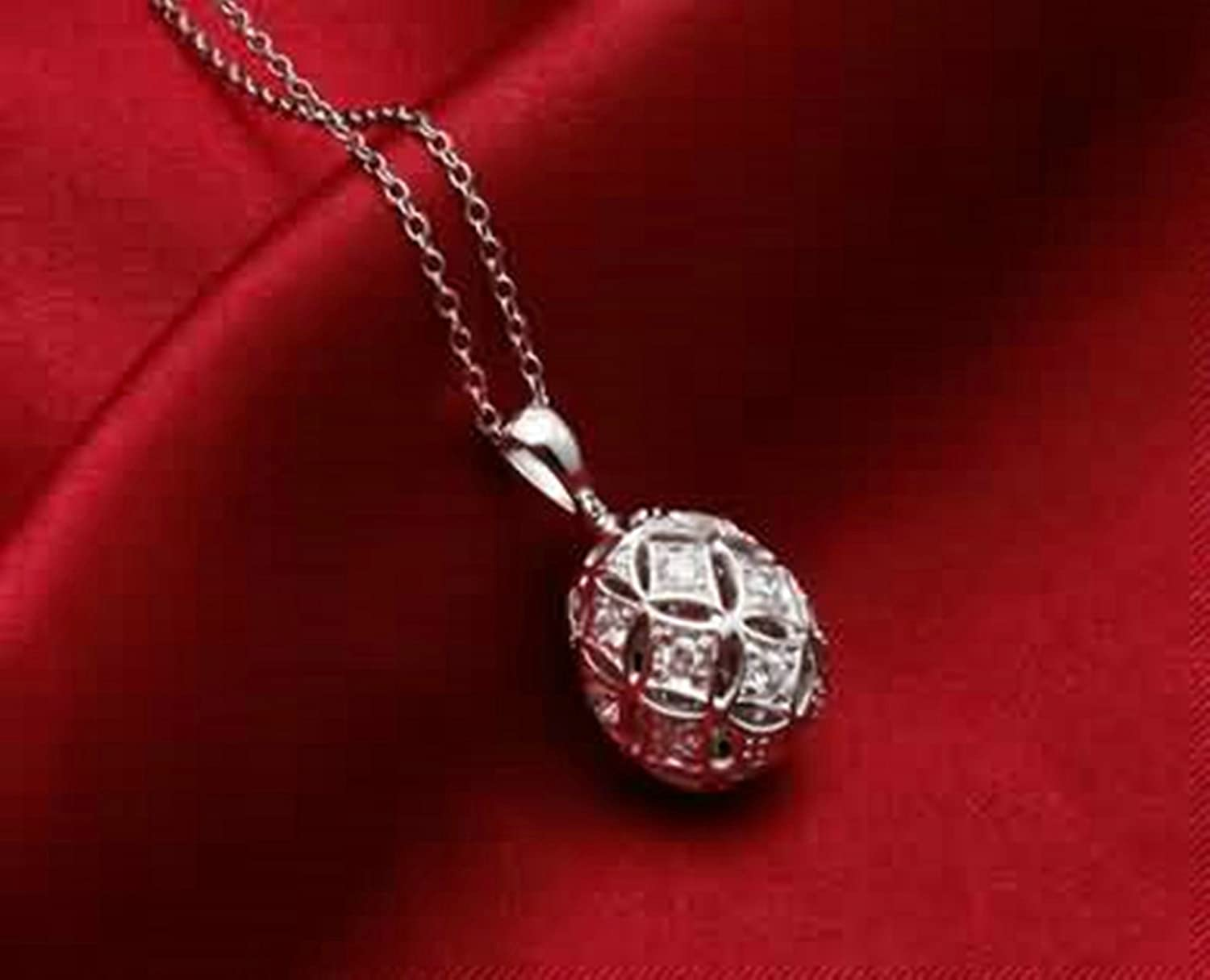 AMDXD Jewelry Women Silver Plated Pendant Necklaces Hollow Out Round Cubic Zirconia White 2.3X1.2CM