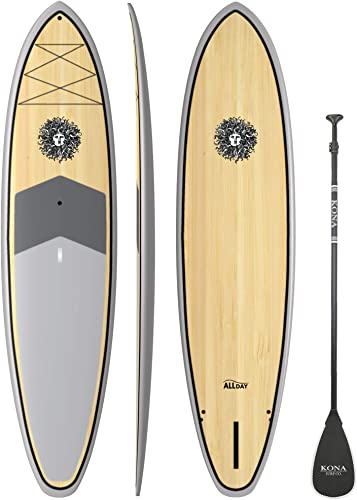 KONA SURF CO. All Day SUP Standup Paddleboard SUP Package Includes Adjustable Paddle, Center Fin, and Quality Leash