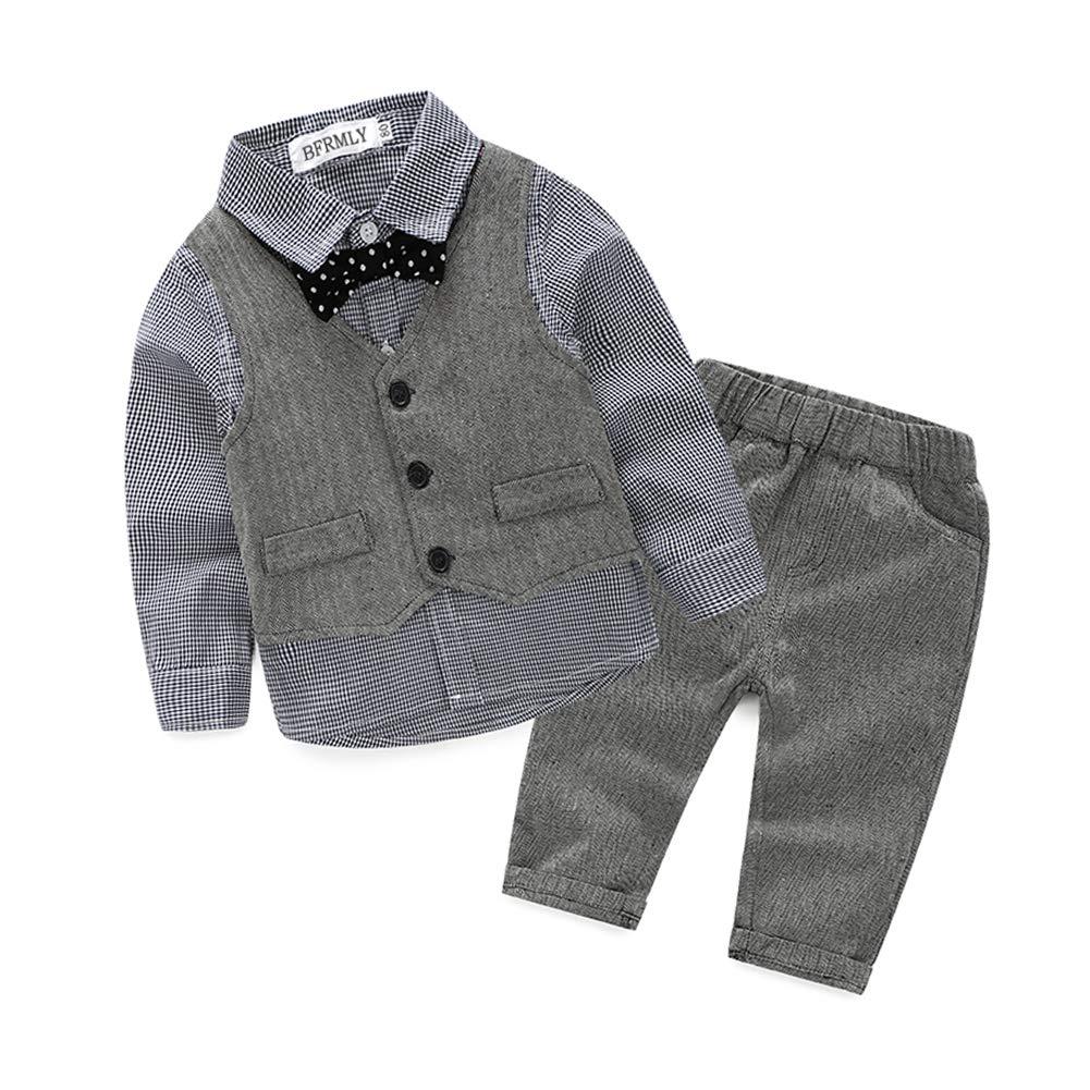 Toddler Little Infant Boys' Dressy 3 Pieces Suit Cotton Clothes Set Grey-Bow 90 820