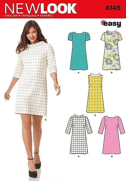Amazon.com: Simplicity Creative Patterns New Look 6145 Misses\' Dress ...