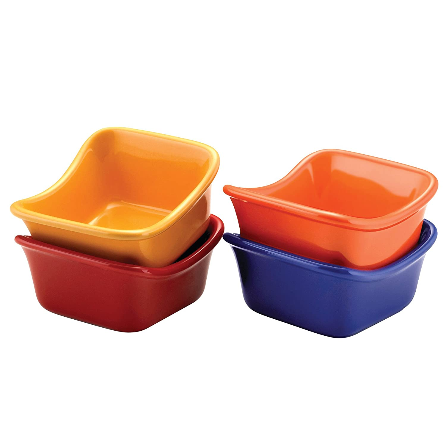 Rachael Ray Serveware Lil' Saucy Squares Stoneware Dipping Cups Set, Assorted