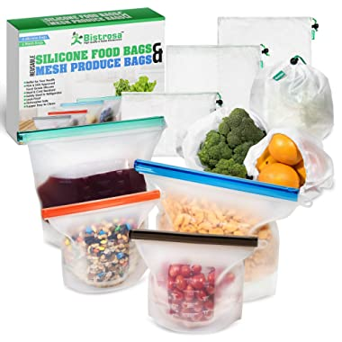 Reusable Silicone food storage bags (Large and Small, Set of 4) + Bonus Mesh Produce bags (6) Reusable Silicone bags reusable storage for Leftover food and Vegetables Eco Friendly Food Storage bag