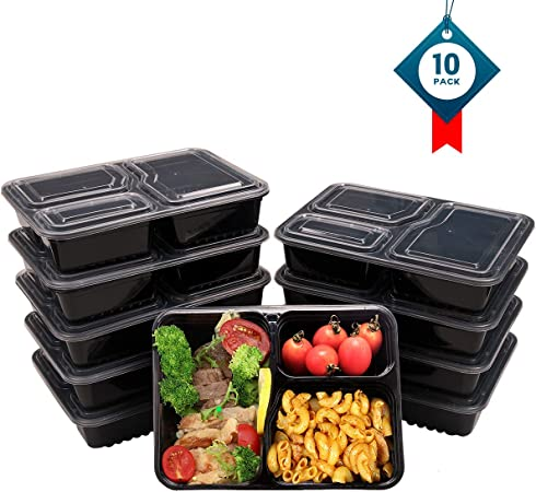3 Contenedor de Compartimentos de Comida Preparada con Tapa, Apilable, Lavavajillas y Microondas, Cuadrado Caja de Almuerzo 10 pack by OITUGG: Amazon.es: Hogar