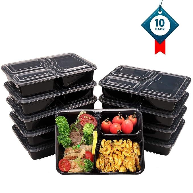 OITUGG 3 Contenedor de Compartimentos de Comida Preparada con Tapa, Apilable, Lavavajillas y Microondas, Cuadrado Caja de Almuerzo 10 Pack by