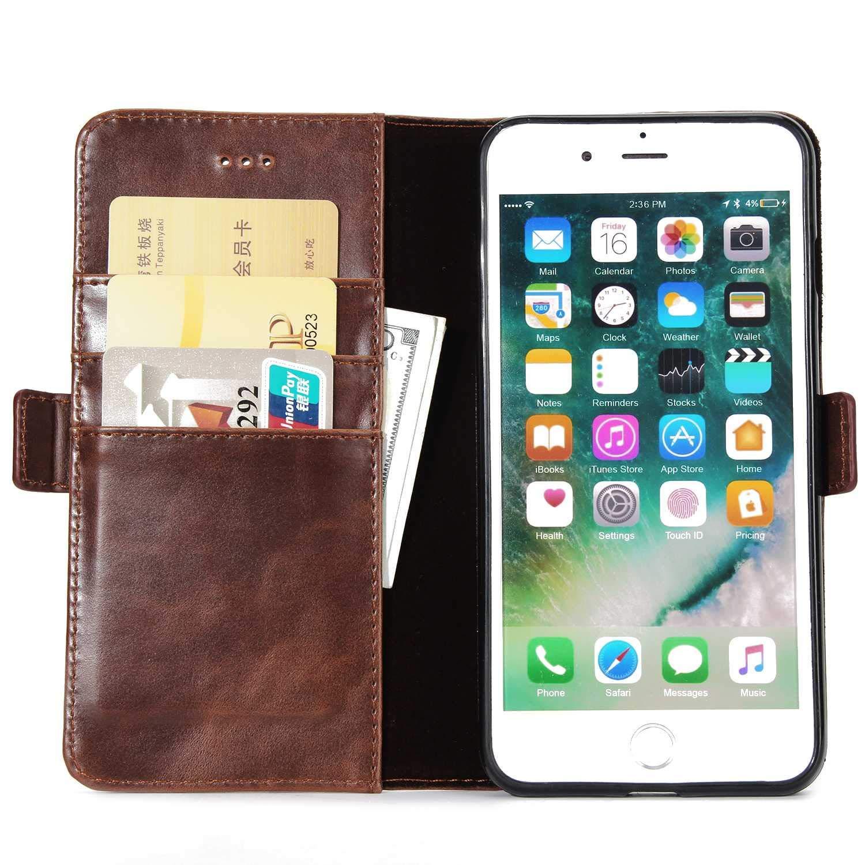 iPhone 6 Magnetverschluss Schutzh/ülle f/ür Apple iPhone 6 6s Braun 6s H/ülle DENDICO Slim Leder H/ülle Magnet Brieftasche Flip Handyh/ülle mit Kartenf/ächer