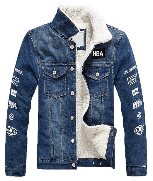 8df8a489ddf3 LCXYYY Herren Wintermantel Jeans Jacke Mäntel Denim Jeansjacke Winter Denim  Jacket Gefütterte Revers Slim Fit Winterjacke