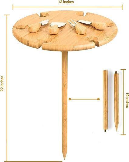 Tabla de Picnic Plegable de bambú con Cubiertos de Queso para Mesa ...
