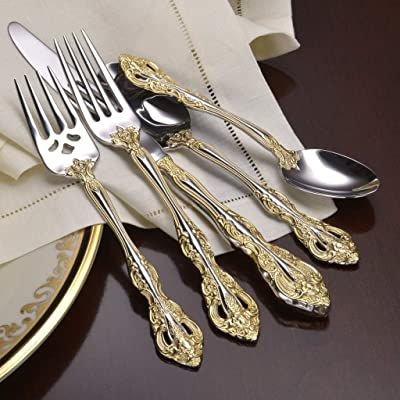 Elegant and expansively decorated 18K gold electroplate gold-twined accent flatware with service for 8 plus 6 piece hostess set