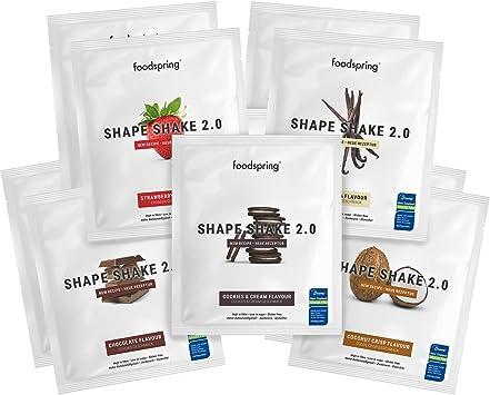 foodspring Shape Shake 2.0, Mix de sabores, 10 x 60g ...