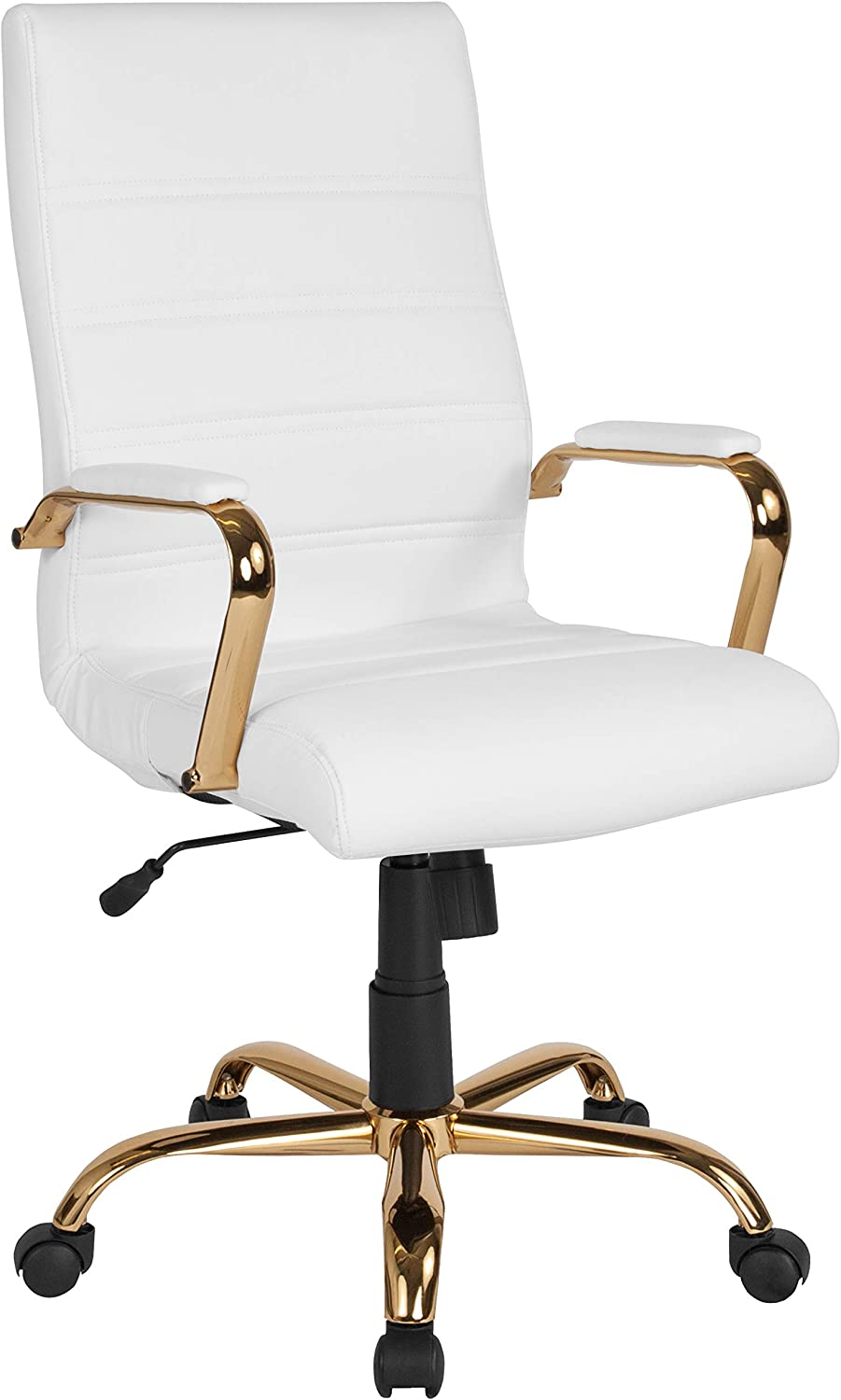 Flash Furniture High Back White LeatherSoft Executive Swivel Office Chair with Gold Frame and Arms