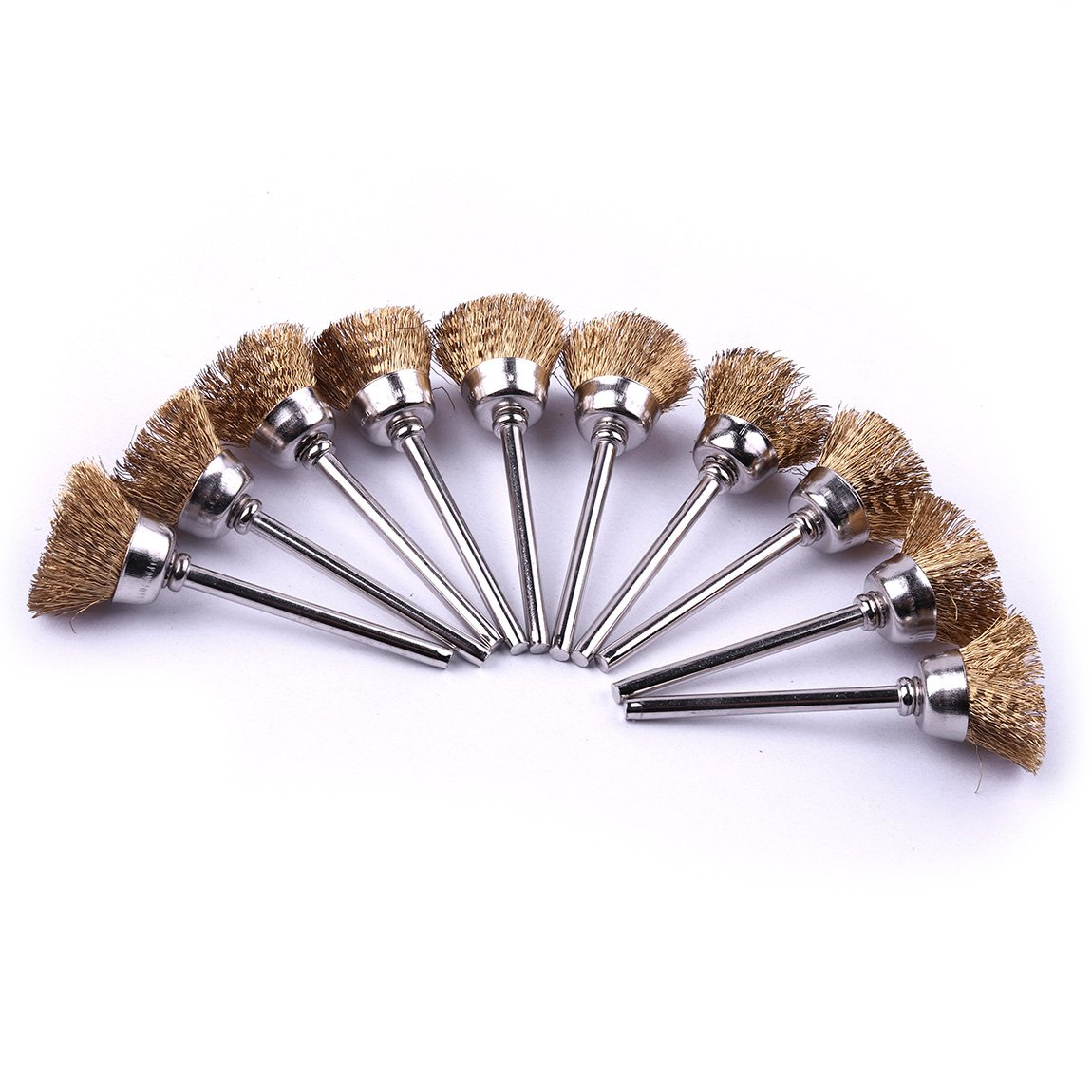 Atoplee 20pcs 1/8 Inch Shank Cup Shape 16mm Brass Wire Brushes Wheel for Die Grinder Rotary Tools