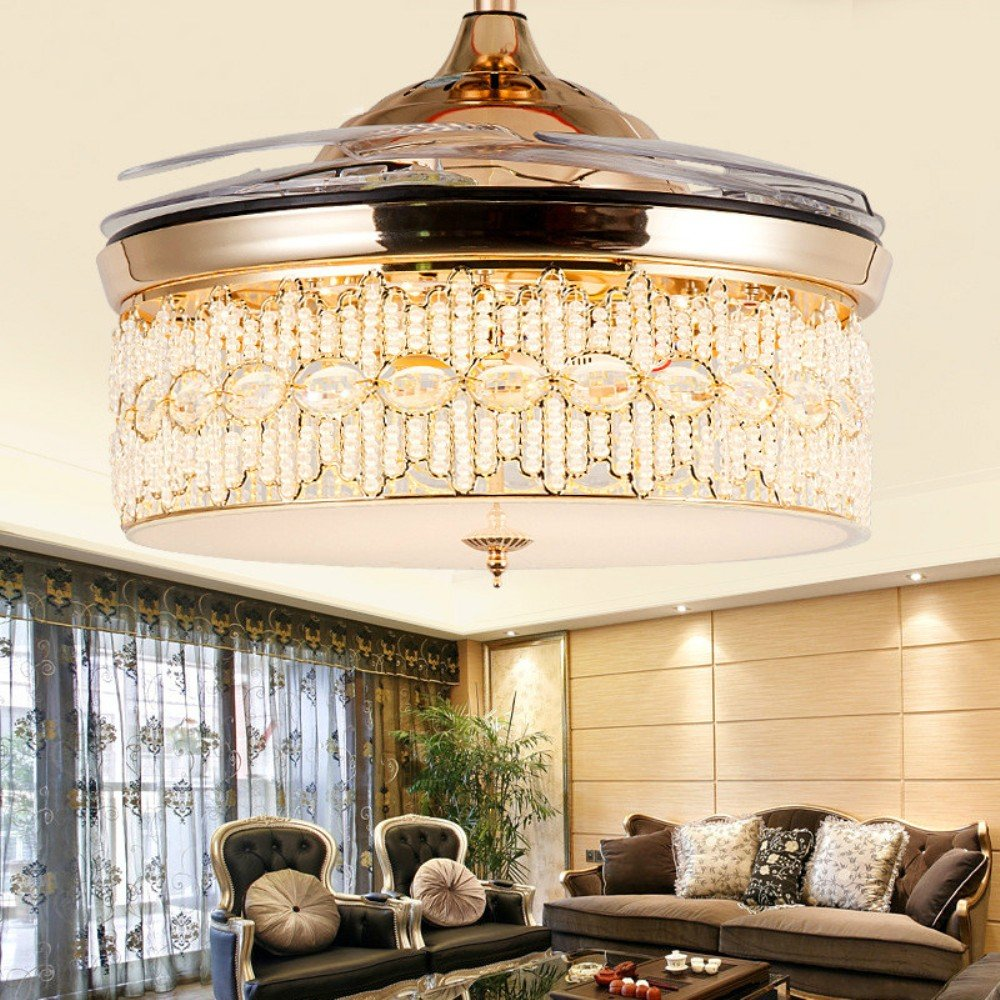 RS Lighting Modern Minimalist Fashion High - Grade Crystal Ceiling Fan and Light with Remote Control for Living Room Bedroom Fan Chandelier Lights -42 Inch