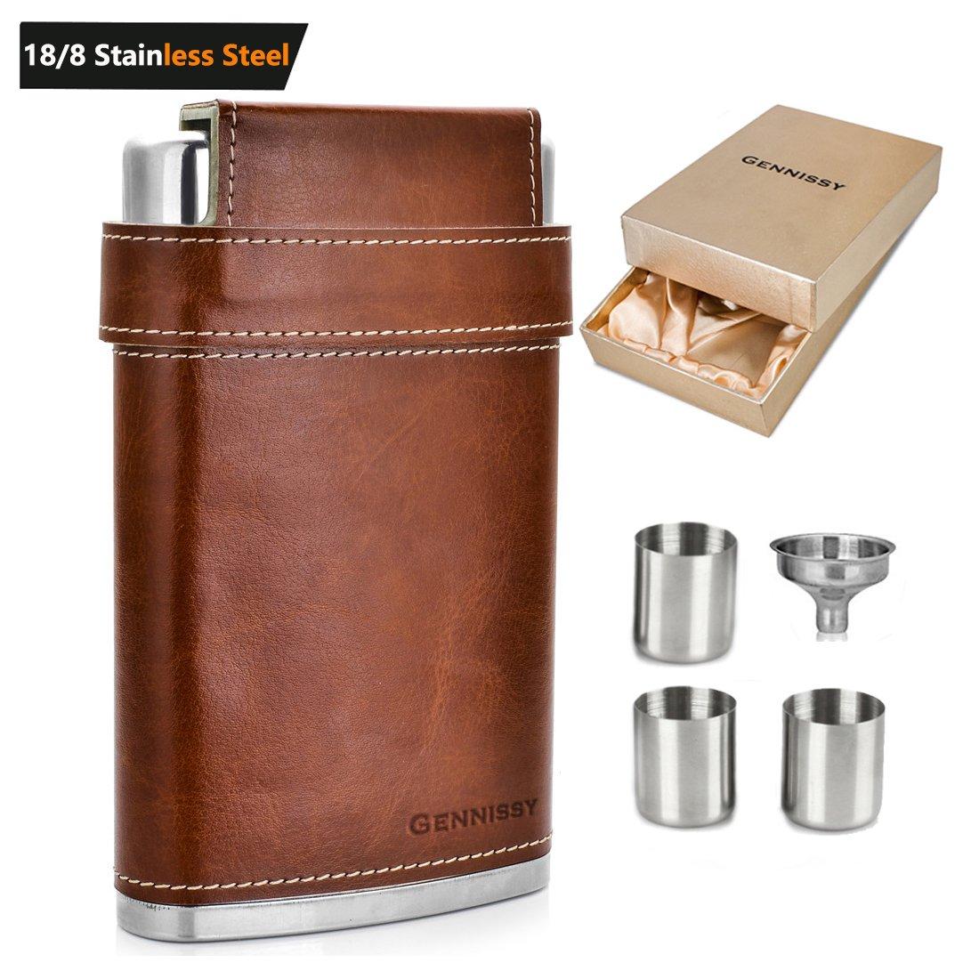 gennissy Pocket Petaca 8 oz con embudo libre - enveloppé en acero inoxidable con piel y impermeable 100% 8OZ Brown With Gift Box: Amazon.es: Hogar