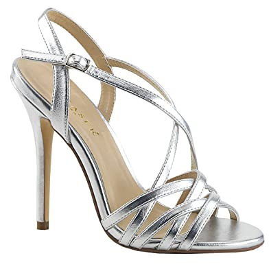 PleaserUSA Damen High Heel Riemchen Sandalen Amuse 13 Silber metallic