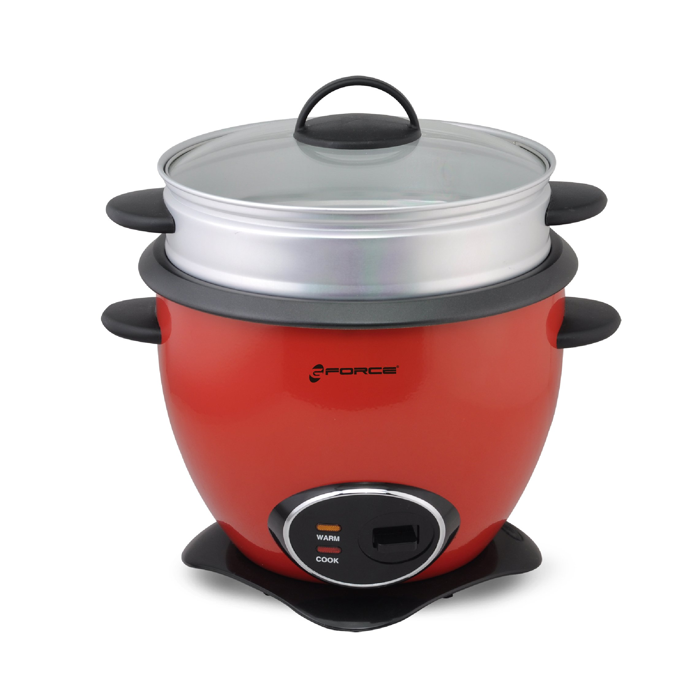 GForce Rice Cooker Aluminum Infused 1Liter/10 Cup Rice & Grain Cooker with Vegetable Steam Tray - Silver/Red