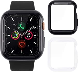 Tranesca 2 Pack 42mm Slim Hard Apple Watch Case with Built in Ultra Thin WATER PROOF TPU Full Coverage Tempered Glass Screen Protector for Apple Watch Series 2 and Series 3 (Black, Clear)