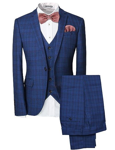 f04fcac6d6be0 Traje para hombre 3 piezas chaqueta chaleco pantalón traje al estilo  occidental  Amazon.es