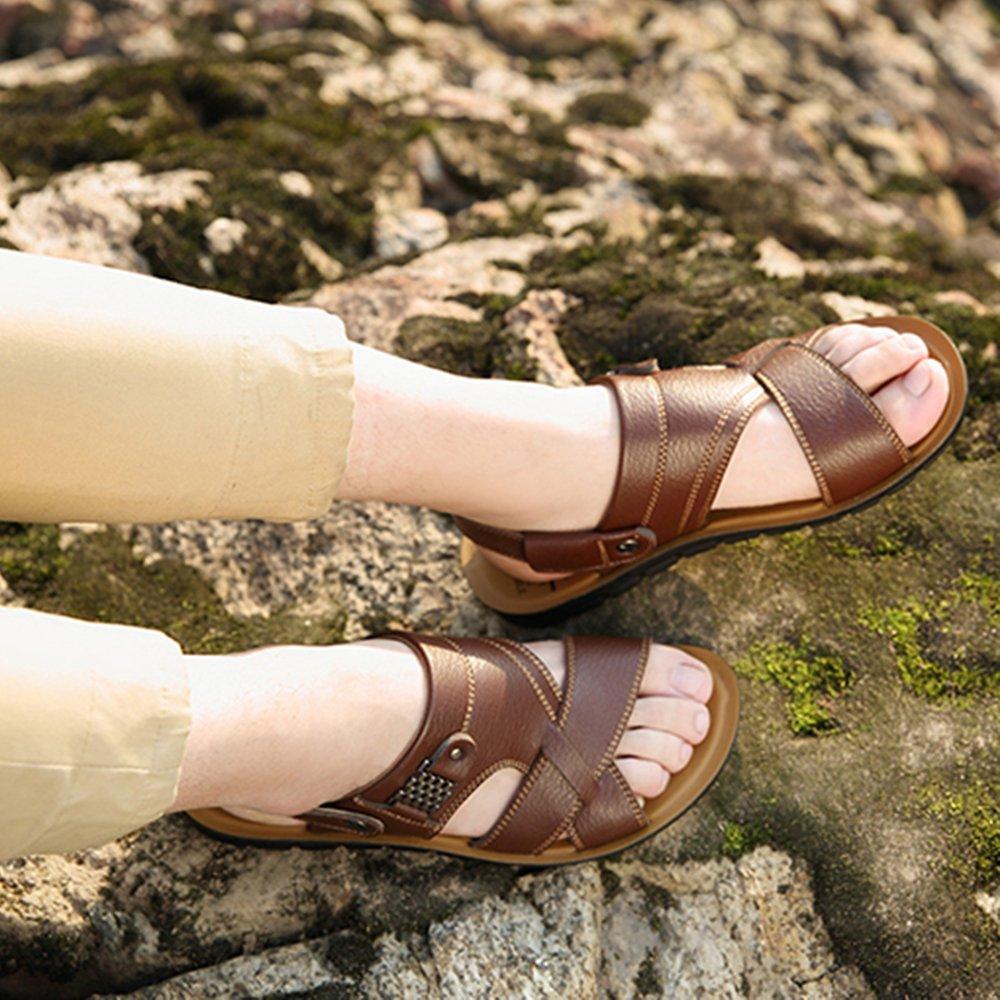 Männer Strand Sandalen Sommer PU Pool Klassische Rutschfeste Atmungs Peep Toe Casual Rutschfeste Klassische Hause Hausschuhe Schuhe Größe Braun ab4801