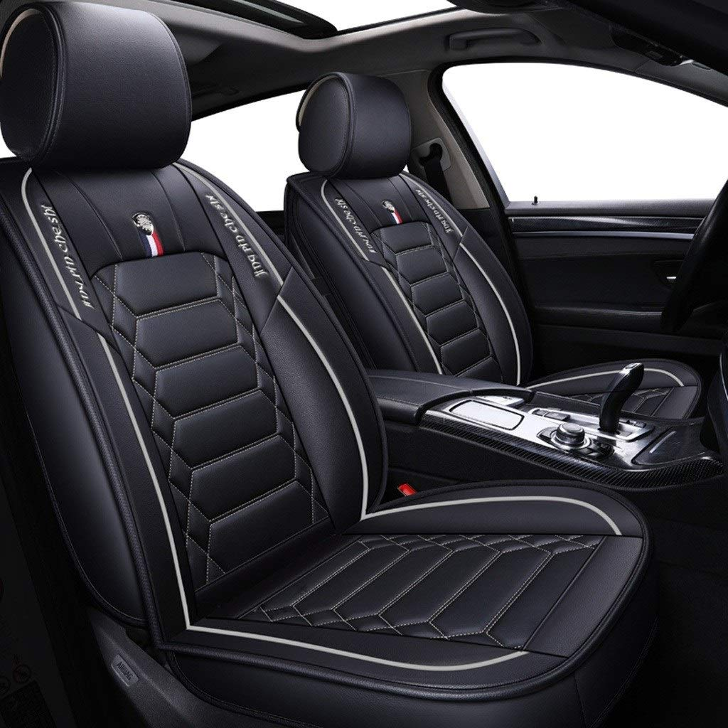 DAPENG Car Seat Cover, Front and Rear 5 Seats Full Set of Universal Leather Four Seasons Seat Cover (Color : White)