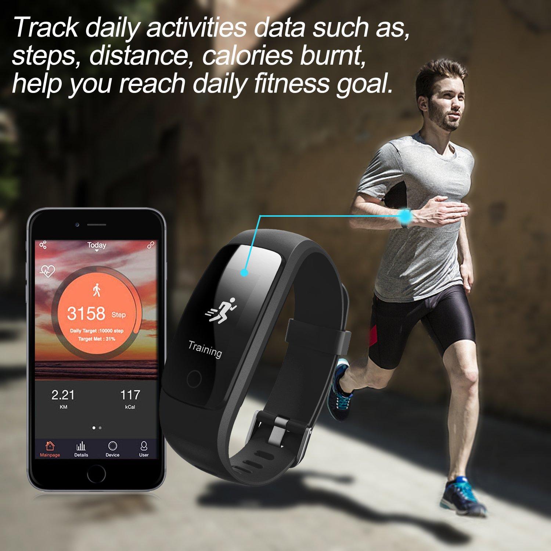 zoiytop Herzfrequenz Smart Armband Sport Fitness Schrittzähler Kalorien Wireless Schrittzähler Sport Monitor Gesundheit Schlaf Monitor für Android iOS Handy, schwarz