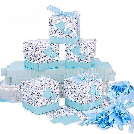 Cajas de Boda Regalo - Meersee 100 Cajas de Bautizo Caramelo Cumpleaños Dulces Bombones Regalos Detalles con Cintas para Invitados de Boda Fiesta Comunion, ...