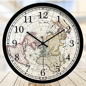 Gear clocks Mapa Arte Relojes Y Relojes Reloj De Pared Sala De Estar Mudo Restaurante Reloj