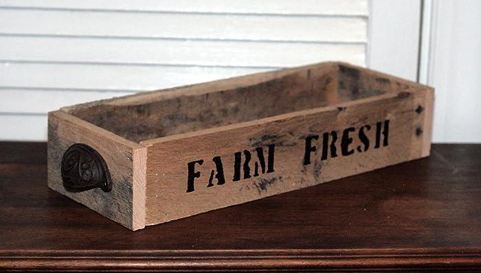 "Rustic Reclaimed Wood Box ""Farm Fresh"" Wooden Crate, Salvaged  Wood Box, - Amazon.com: Rustic Reclaimed Wood Box"