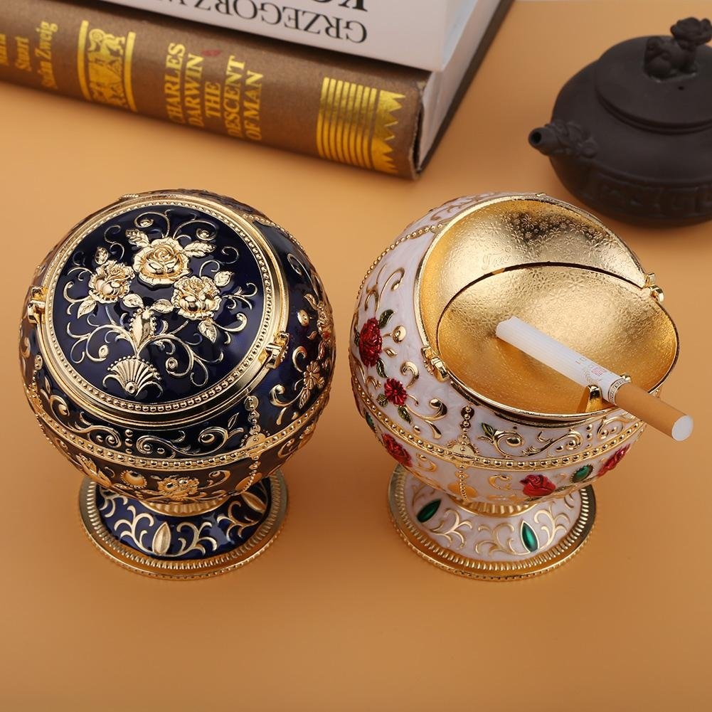 Dark Blue Portable Ashtray Round Ball Home Hotel Wedding Gift Collectibles Two Colors Outdoors and Indoors Vintage Ashtray Gift