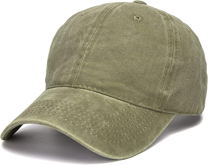 746f7e5d421 WINCAN Vintage Washed Dyed Cotton Twill Low Profile Adjustable Baseball Cap  (Army Green)
