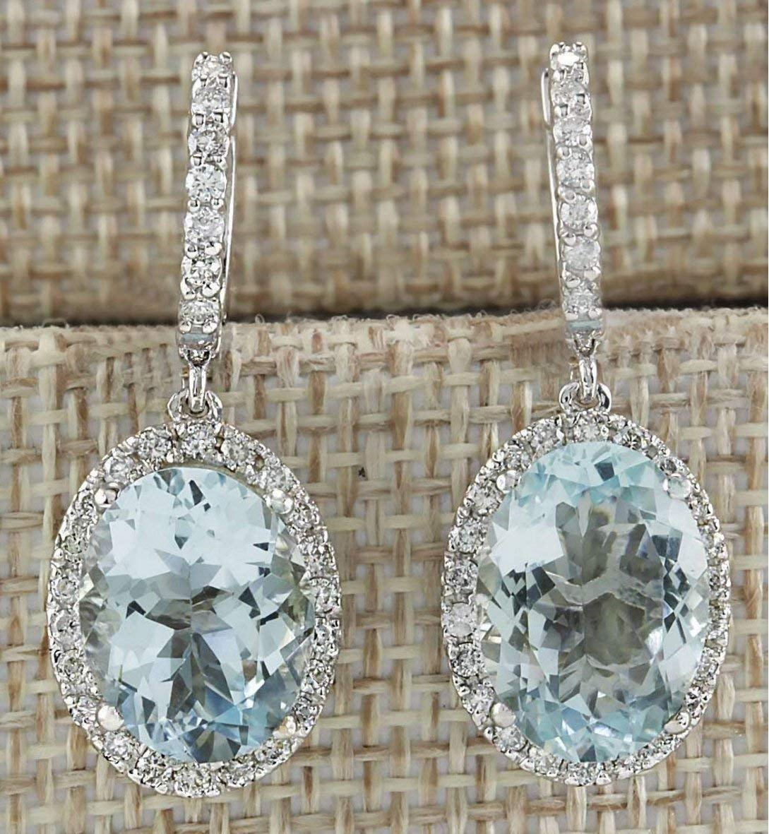 Fashion Women 925 Silver Aquamarine Gemstone Bridal Ear Stud Hoop Dangle Earrings(Style-Round) by SOSUO (Image #2)