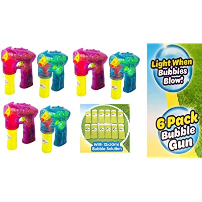 Oojami 6 Pack Bubble Gun Shooter with LED Lights Bubble Blaster Ideal for Party Favors, Indoor and Outdoor Toys, Birthday Gifts, Bubble Toys for Boys and Girls of All Ages: Toys & Games