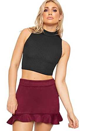 87c7d7137d1 WearAll Women's Ribbed Knitted Sleeveless Short Turtle Neck Vest Crop Top -  Black - 6