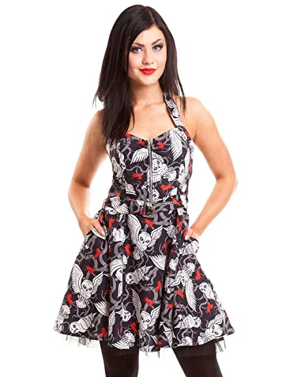 53062b25e355 Cupcake Cult Hunt Dress black-white-red M: Amazon.co.uk: Clothing