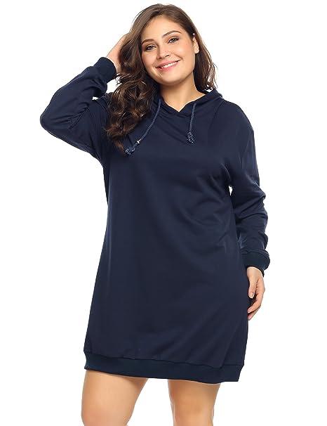 IN\'VOLAND Women\'s Plus Size Long Sleeve Hooded Pullover Sweatshirt Hoodie  Dress (16W-24W)
