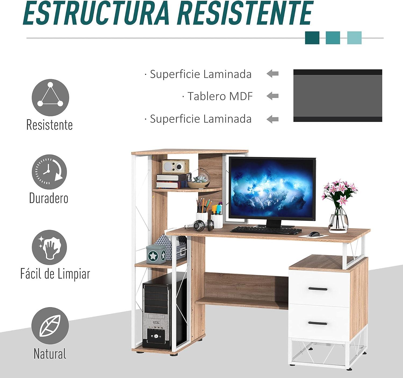 HOMCOM Mesa de Ordenador PC para Oficina Despacho Escritorio Dormitorio Escuela Estante 133x55x123cm Madera