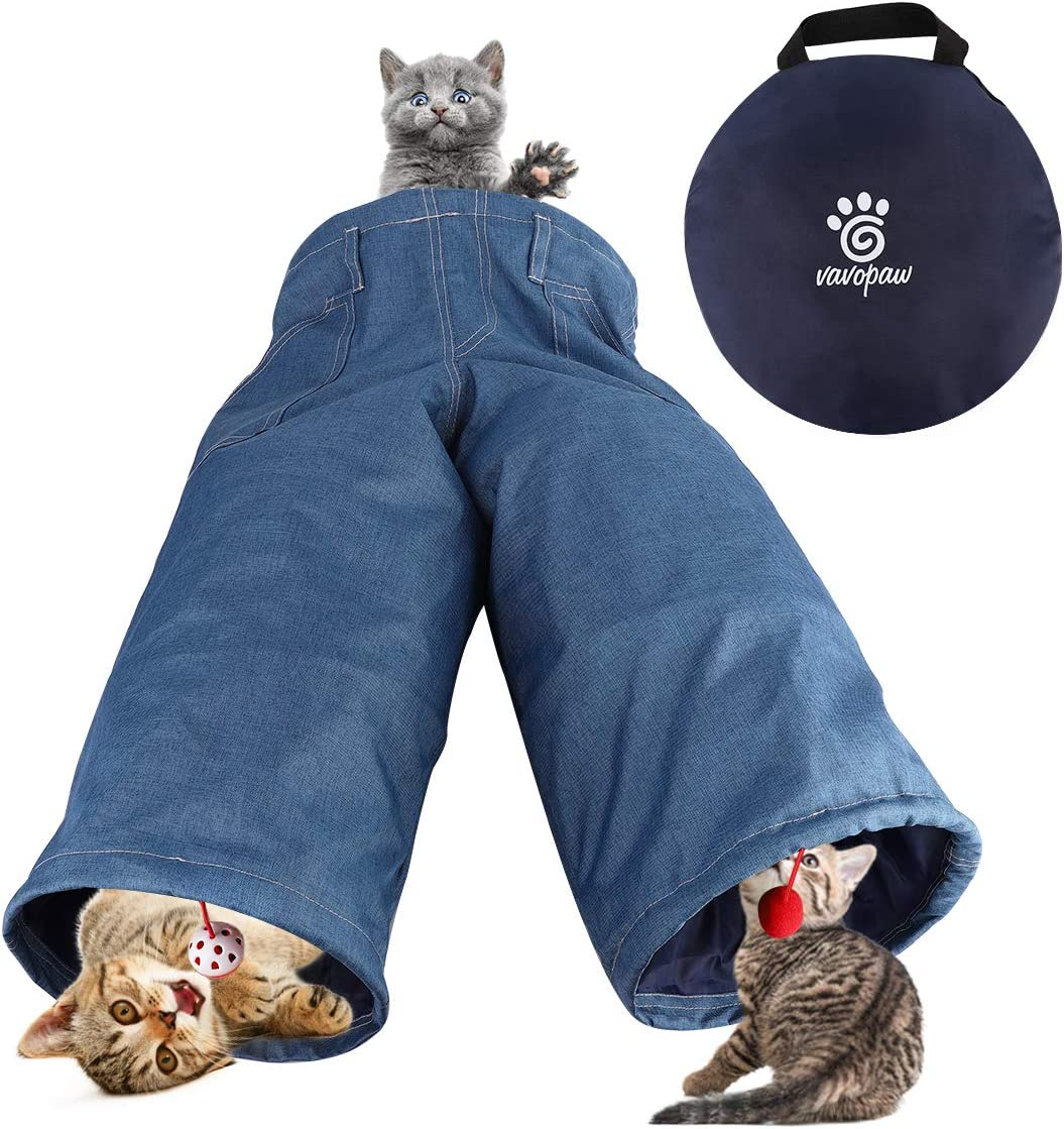 VavoPaw Cat Toys, 3 Way Folding Jeans Shaped Cat Tunnel Tube Extensible Collapsible Portable Kitty Pet Tent with Extra Toys, Balls of Fur, Balls with Bell for Cat Rabbit Pubby- Denim Blue