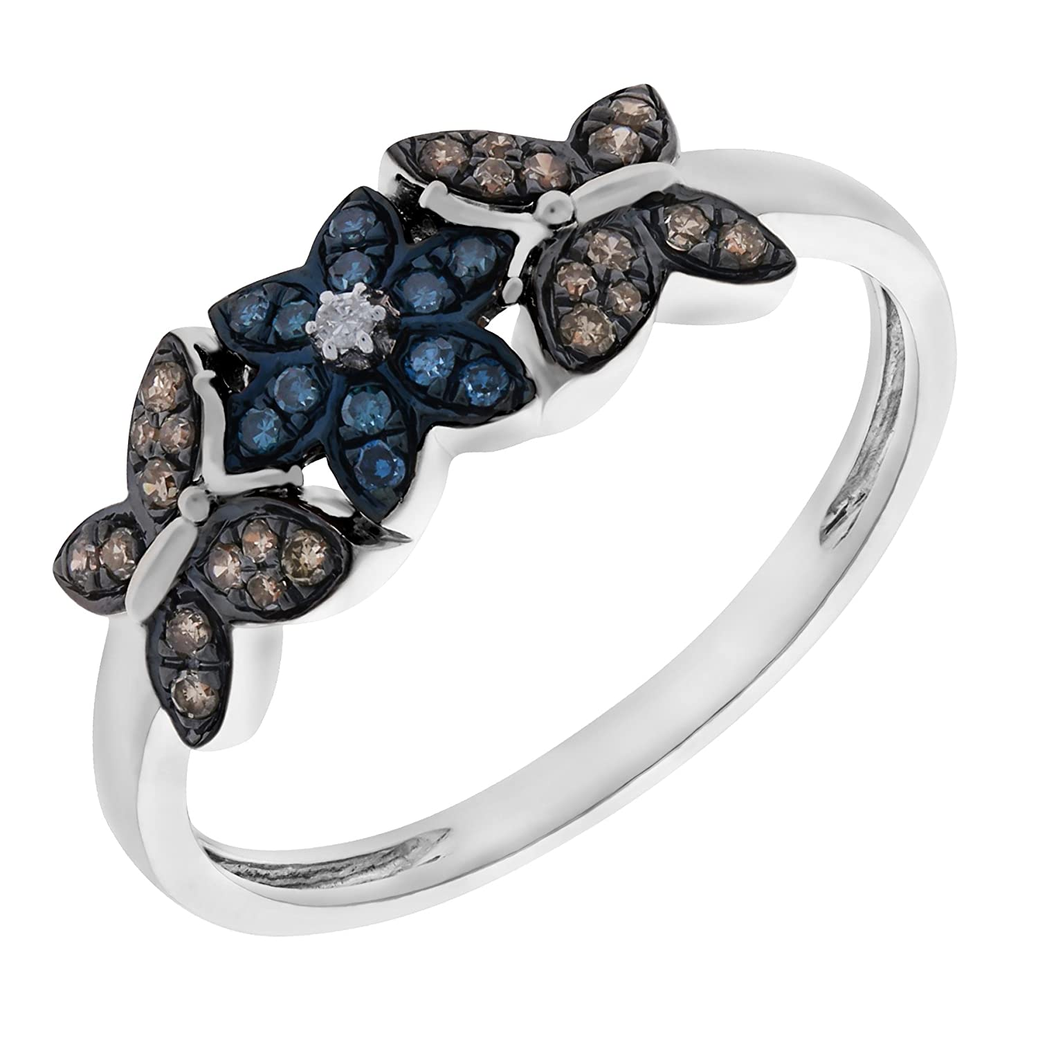 Prism Jewel 0.26Ct Blue /& Natural Brown White Diamond Butterfly Style Ring