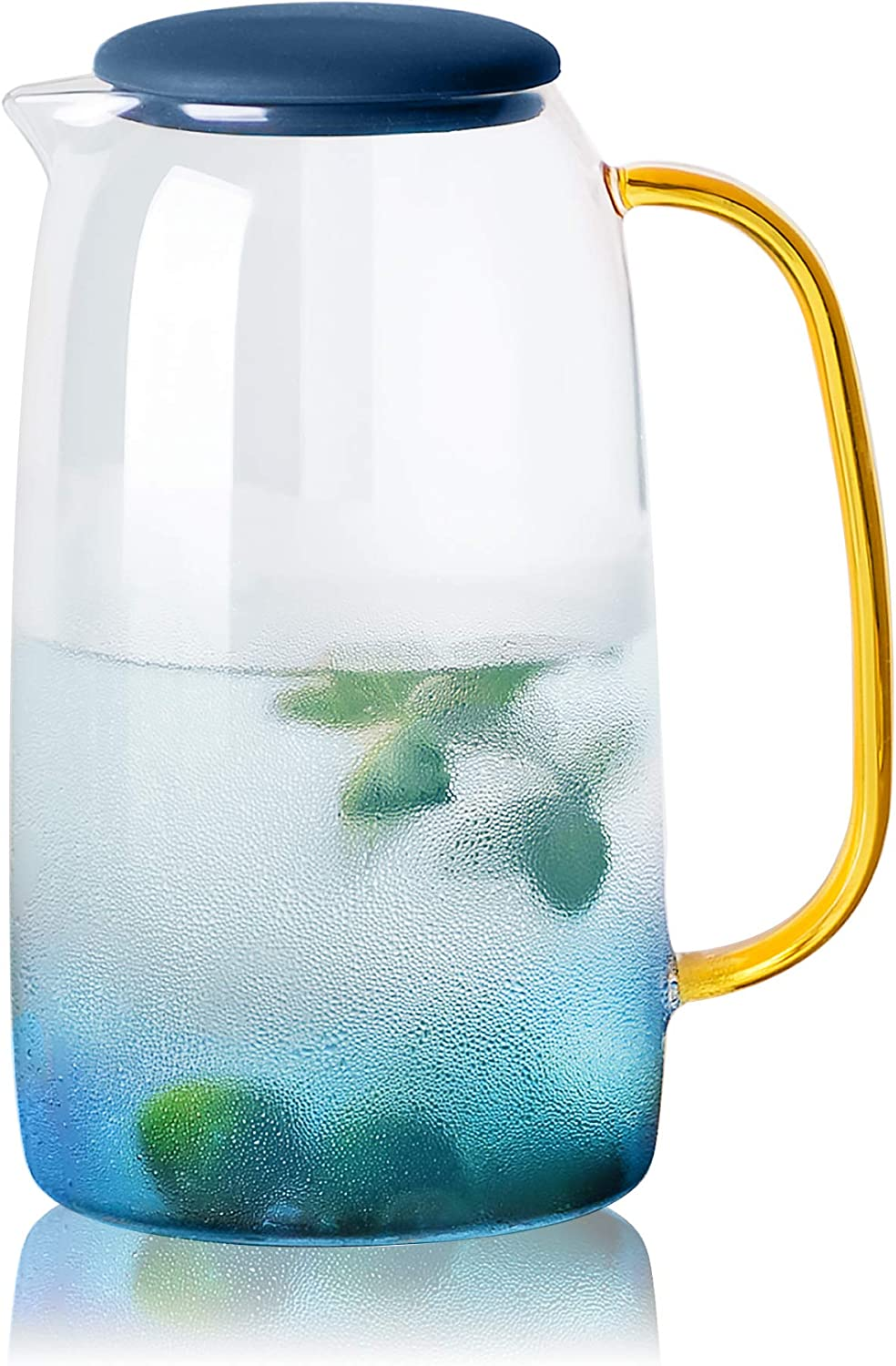 HIEEY Glass Water Pitcher,Lemonade Pitcher,Tea pitcher,Borosilicate Glass Carafe,for Hot and Cold Water, Drinks, Wine, Tea, Coffee,Ice Lemon Tea and Juice Beverage,1.6 quart/52 oz,Clear