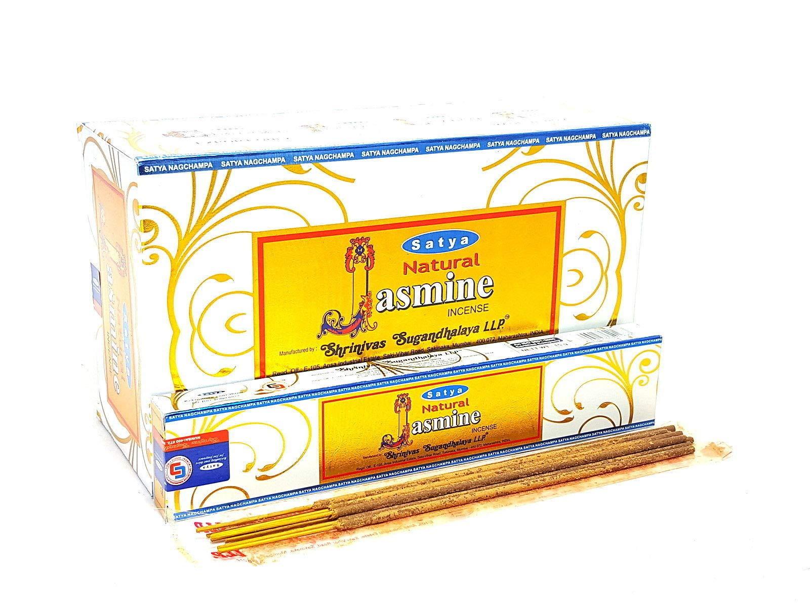 Satya Natural Jasmine Incense Sticks/Agarbatti   15 Grams x 12 Packs   Box of 180 Grams   Export Quality by Satya Sai Baba