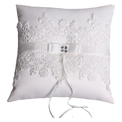 Anillos de boda almohada cojín bordado flores y malla 21 cm ...