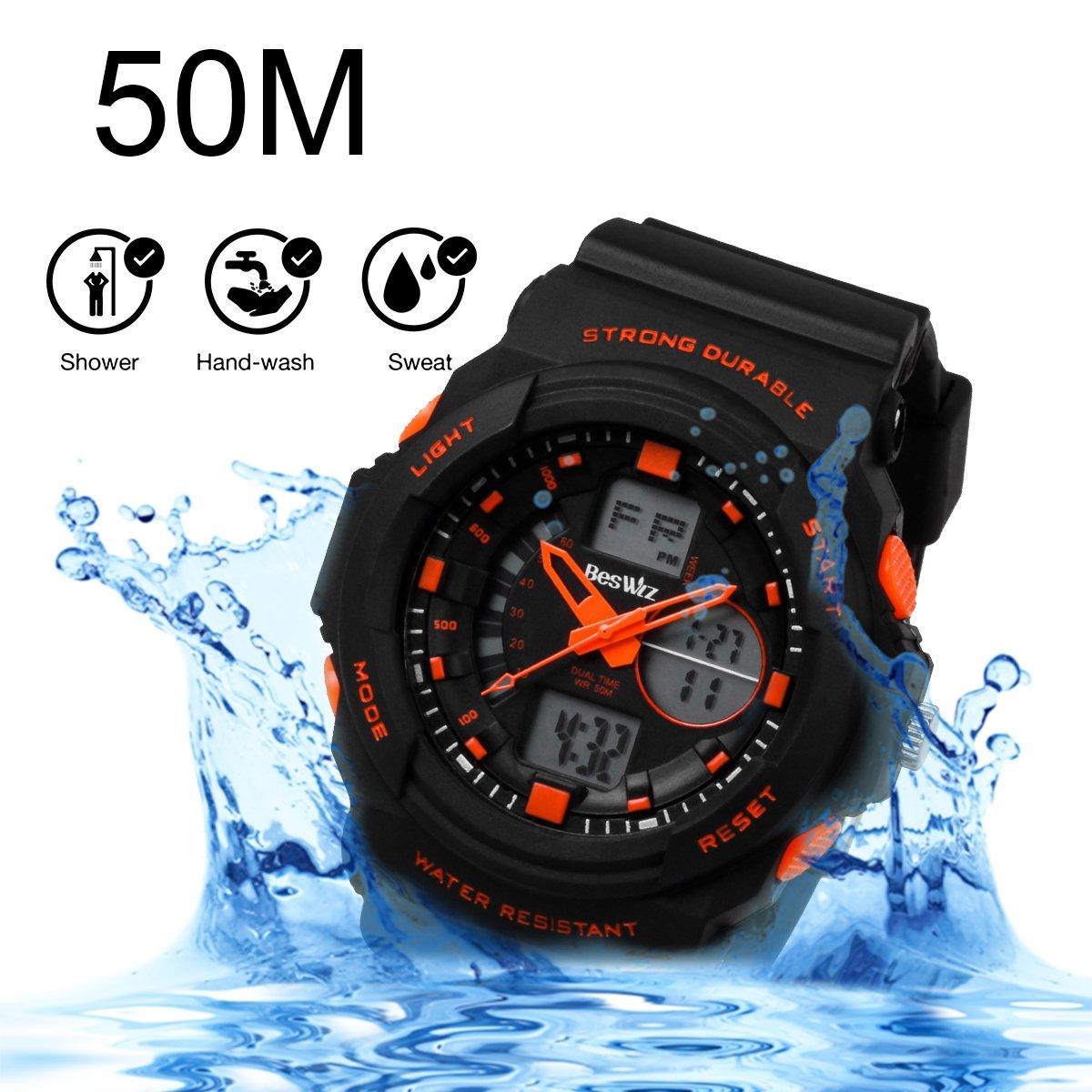 BesWLZ Multi Function Digital LED Quartz Watch Water Resistant Electronic Sport Watches Child Orange by BesWlz (Image #4)
