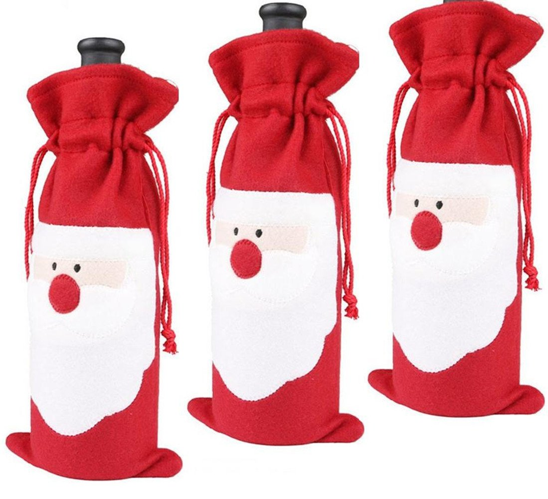 Homecube 3pcs Santa Claus Wine Bottle Cover Red Wine Bags Christmas Wine Bottle Gift Bags Set Party Hotel Kitchen Table Decor(c) by Homecube